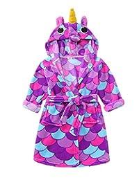 dressfan Toddlers/Kids Animal Cartoon Robes Flannel Warm Hooded Bathrobe