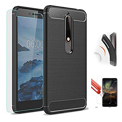 Nokia 6 2018 Case, Best Share Premium Slim Fit Soft TPU Skin Case Non-slip Scratch-resistant Shockproof Cover + Tempered Glass Screen Protector by Best Share