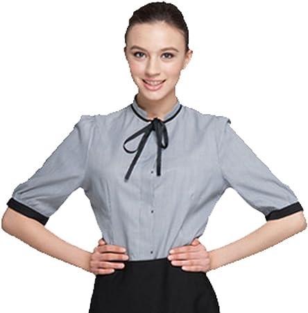 Camiseta de manga corta ropa de camarera de los cocineros hotel personal del restaurante de la camisa de los uniformes de trabajo 816305 (5 tamaños disponibles), gris, M Bust 92cm/36