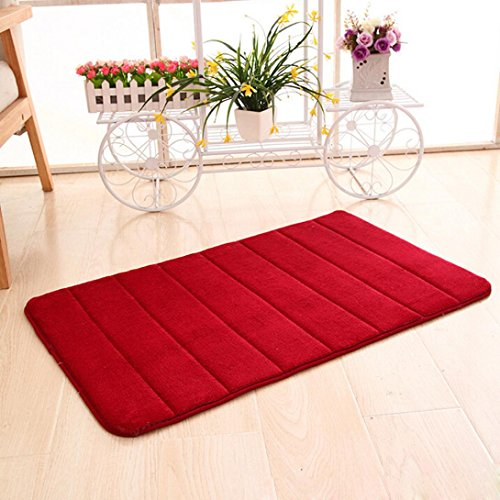 Iuhan Fashion Memory Foam Mat Absorbent Slip-resistant Pad Bathroom Shower Bath Mats (Red) (Indian Couple Costume)