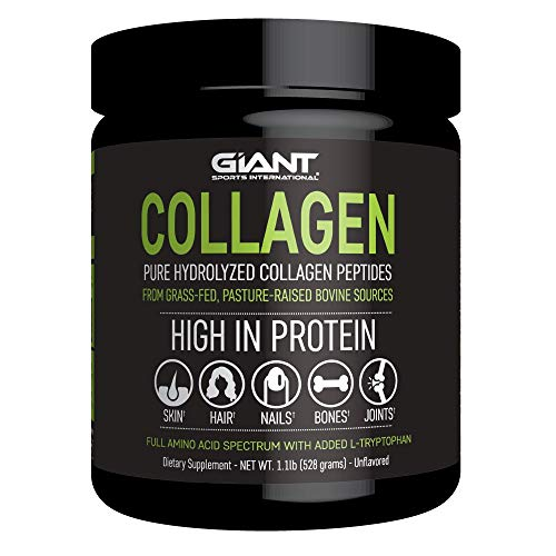 Giant Sports Collagen - Hydrolyzed Collagen Powder with All Essential Amino Acids, Grass-Fed, Pasture-Raised, Type 1 and Type 3 Collagen Peptides - 1 LB.