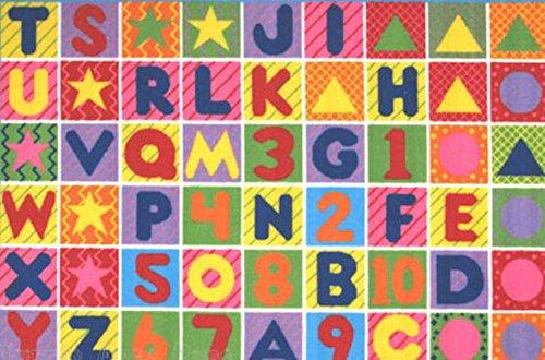 Area 51 Design (5X7 Abc Area Rug Kids Educational Alphabet & Numbers Design Colorful)