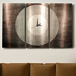 Abstract Modern Silver, Grey and Jewel-toned Metallic Wall Clock Sculpture - Multi-Piece Contemporary Home Office Decor Art Accent - Dynamic Onyx by Jon Allen