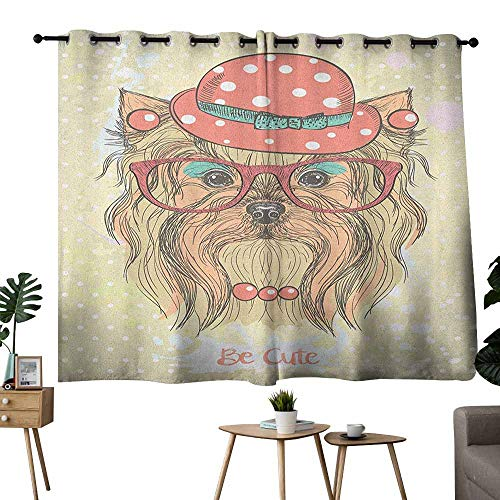 Printed Curtain Yorkie Be Cute Portrait of an Adorable Dog with Earrings Necklace Glasses Hat Makeup Pale Brown Coral Light Blocking Drapes with Liner W55 xL39