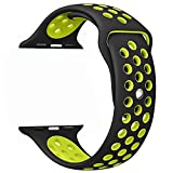 OULUOQI Apple Watch Band 42mm, Soft Silicone Replacement Band for Apple Watch Series 3, Series 2, Series 1, Sport , Edition, M/L Size ( Black/ Volt Yellow )