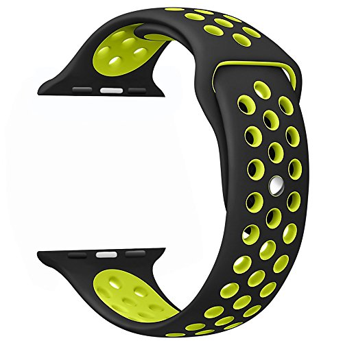 OULUOQI 42mm Soft Silicone Replacement Wrist Strap for Apple Watch Series 2, Series 1, Sport, Edition, M/L Size ( Black / Volt Yellow )