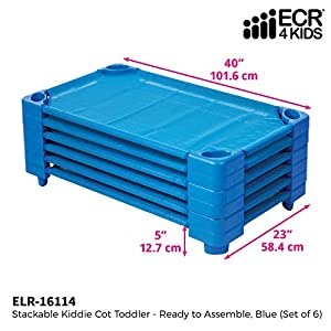 ECR4Kids-ELR-16114 Toddler Naptime Cot, Stackable Daycare Sleeping Cot for Kids, 40″ L x 23″ W, Ready-to-Assemble, Blue (Set of 6)