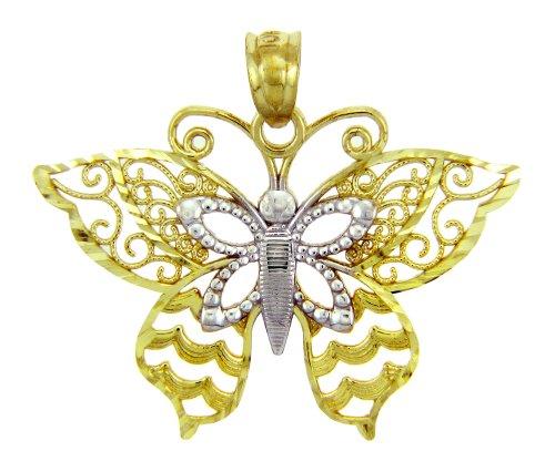 14 ct 585/1000 - Deux Tons Or Papillon-Charme-Pendentif