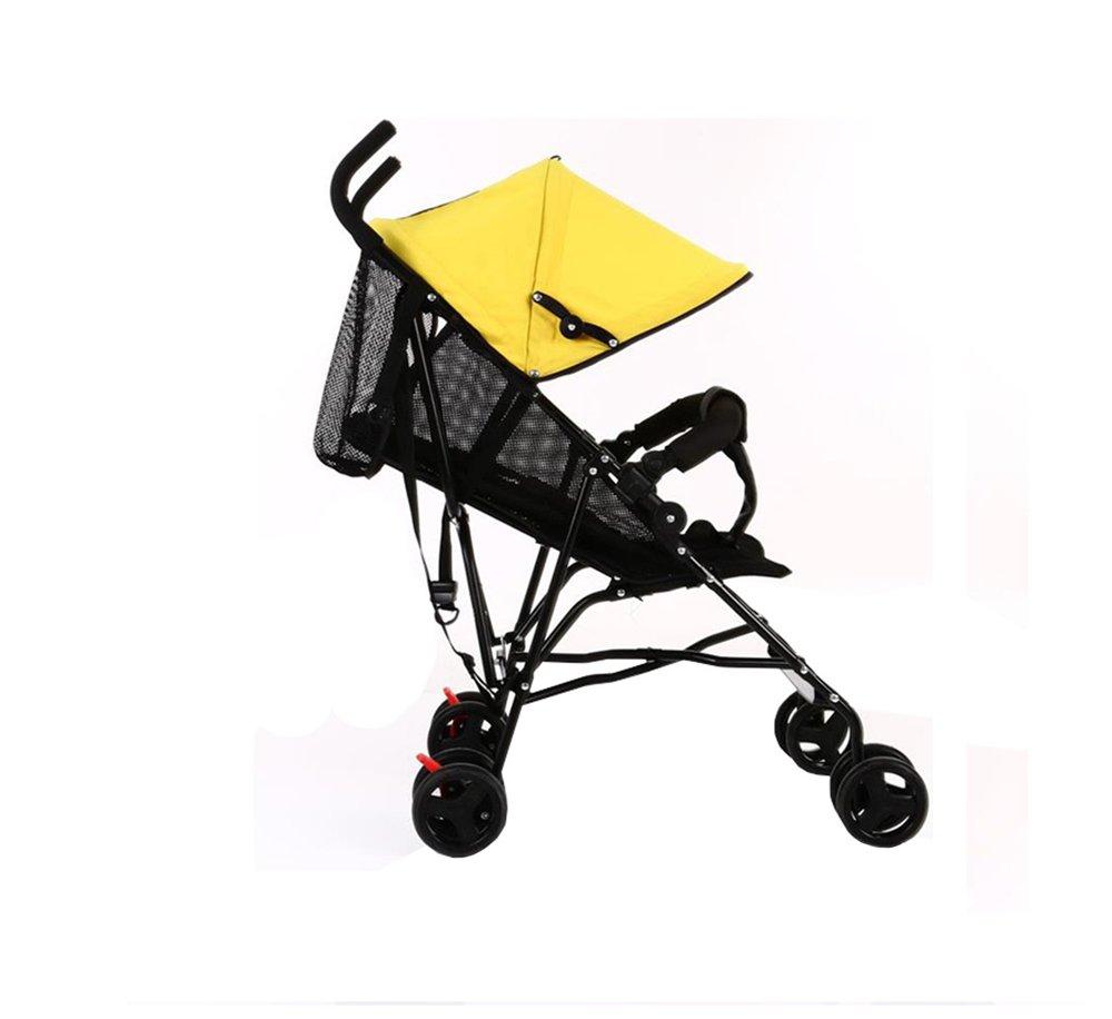 XnZLXS-Cochecitos Simple Baby Trolley Full Network Transpirable Plegable Paraguas Coche Puede Sentarse Puede acostarse sombrilla Coche aleación de Aluminio Frame (Amarillo limón)