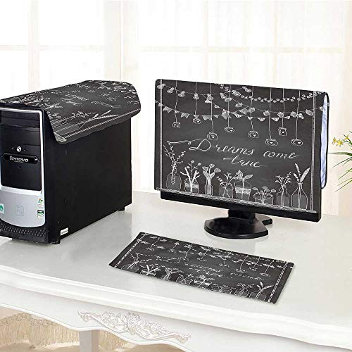 Border Apple Chalkboard - UHOO2018 Computer Three-Piece dust Cover Drawn Borders Garlands Jars Bottles with Flowers Chalkboard Background Lamps Protect Your Computer /28