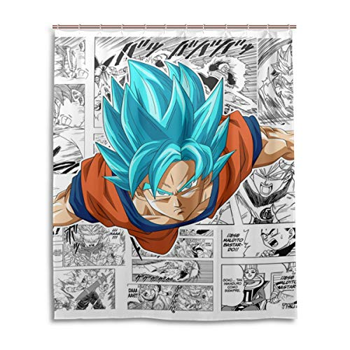 Shower Curtain Dragon Ball Super Goku Blue Newspaper Comics 3D Printing Personality Waterproof Resistant Shower Curtains 12 Hooks 60X72 Inches (Dragon Ball Z Personality)