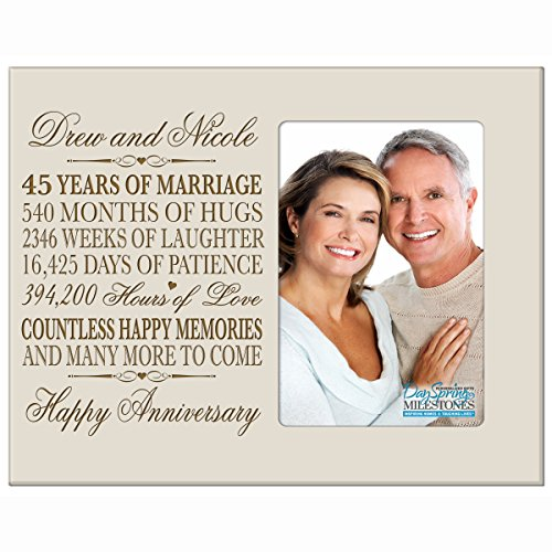Personalized 45th Year Wedding Anniversary Frame Gift for Couple 45th Anniversary Gifts for Her 45th Wedding Anniversary Gifts for Him Frame Holds 1 4x6 Photo 8
