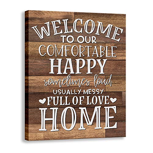 Kas Home Vintage Welcome Canvas Wall Art | Farmhouse Rustic Funny Family Prints Decorative Signs Framed | Wood Background Living Room Porch Wall Decor (15 x 12 inch, Welcome - 01) (Porch Ideas Room)