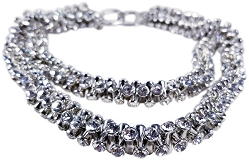 KENNETH JAY LANE, 2 ROW SILVER CRYSTAL TIPS ALL AROUND NECKLACE by HamptonGems