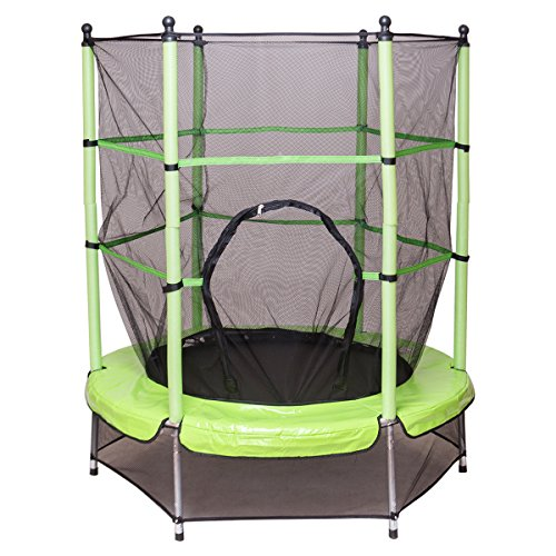 Giantex 55 Round Kids Mini Jumping Trampoline W/ Safety Pad Enclosure Combo (Green)