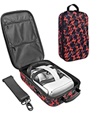 LOVEDAY Hard Travel Case for Oculus Quest 2 VR Gaming Headset Controllers Accessories Waterproof Carring case (Red)