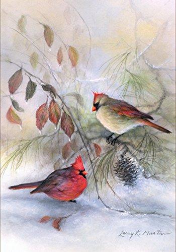 Toland Home Garden Winter Cardinal Bird Snow Scene House Flag - ()