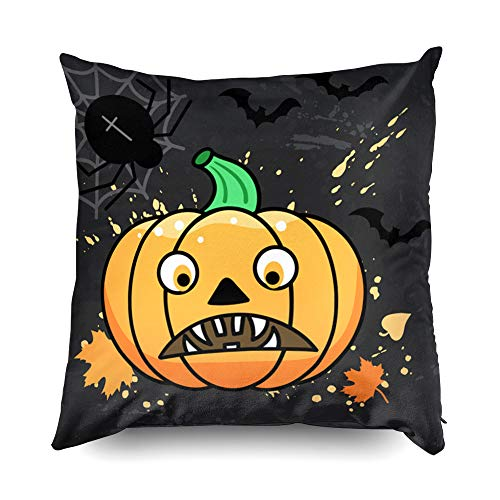 (Shorping Zippered Pillow Covers Pillowcases 20X20 Inch Halloween Halloween Illustration with Pumpkin Spider and Bats Decorative Throw Pillow Cover,Pillow Cases Cushion Cover for Home Sofa)