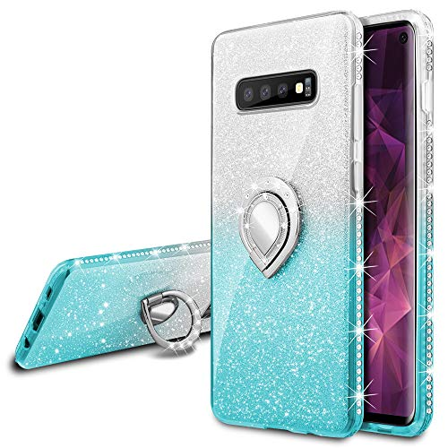 Shiny Glitter - VEGO Galaxy S10 Glitter Gradient Ombre Case with Ring Holder Kickstand for Women Girls Bling Diamond Rhinestone Sparkly Bumper Fashion Shiny Cute Protective Case for Samsung Galaxy S10(Teal Teal)