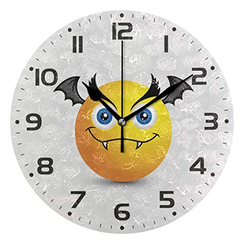 Naanle Evil Halloween Bat Vampire Emoji Smiley Emoticon White Round/Square/Diamond Acrylic Wall Clock Oil Painting Home Office School Decorative Creative Dual Use Clock Art -