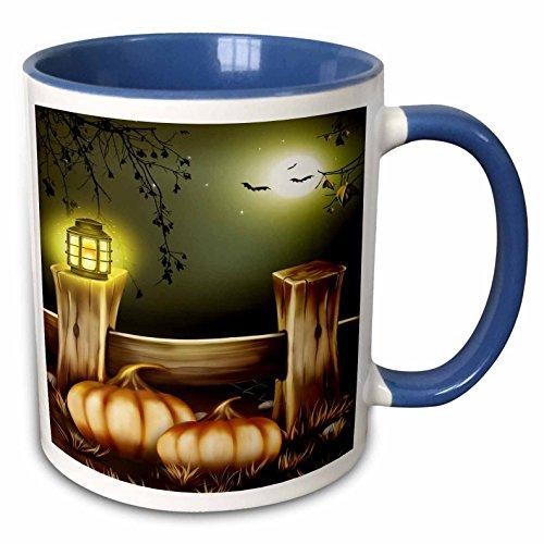 3dRose Sandy Mertens Halloween Designs - Nighttime Light on a Fence with Pumpkins, Bats and a Full Moon - 15oz Two-Tone Blue Mug (mug_156755_11) -