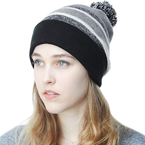 THE HAT DEPOT Winter Soft Unisex Pom Pom Stripe Knit Beanie Skull Slouch Hat (Black/Heather Grey)
