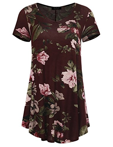 - All for You Women's Short Sleeve V-Neck Flare Hem Floral Print Tunic Burgundy 61140 Medium
