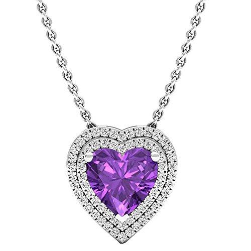 Dazzlingrock Collection 14K 8 MM Heart Amethyst & Round Diamond Heart Double Halo Pendant, White -