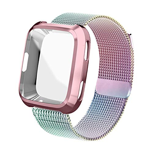 UHKZ Compatible Fitbit Versa Bands, Stainless Steel Mesh Milanese Sport Metal Wristband Loop Accessories for Women Men with Fitbit Versa Screen Protector Case Compatible Fitbit Versa Smartwatch