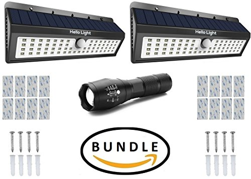 Solar Motion Sensor Light Bundle (2 x 62 LED ) –Includes Tactical LED Flashlight, 3M Tape and 2 Large Solar Lights Outdoor Wireless Security Lighting Porch Patio Garden, Exterior Solar Powered Lights
