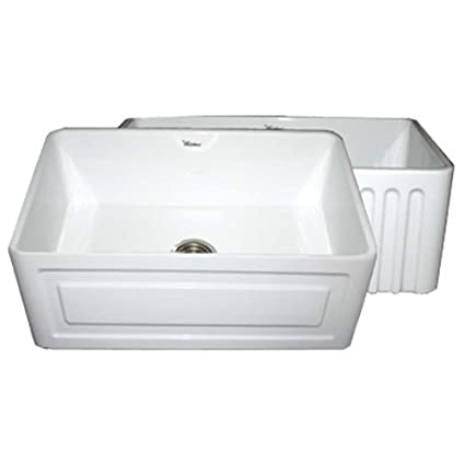 Whitehaus WHFLRPL3018 30 Inch Reversible Series Fireclay Sink With Raised  Panel Front Apron On One