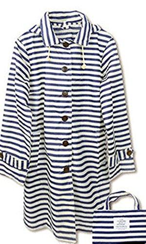 Dark ColorDrip Blue Single Women Raincoat Stripe Breasted gwxawqTR