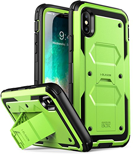 iPhone X Case, iPhone Xs Case [Armorbox V2.0] i-Blason[Built in Tempered Glass Screen Protector][Full body] [Heavy Duty Protection][Kickstand] Shock Reduction Case for Apple iPhone X/iPhone Xs (Green)