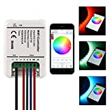 Sunix® Wireless WiFi RGB/RGBWWCW LED Strip Light Controller ,12-24V 5 Channels Controller With Remote Function for IOS or Android Smartphones
