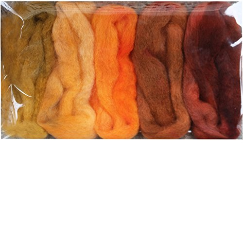 Needle Felting Roving Fiber for Felting Spinning Weaving Dryer Balls Soap Making and Embellishments. Color Sampler Pack of BFL Wool Hand Dyed in USA by Living Dreams. Harvest ()