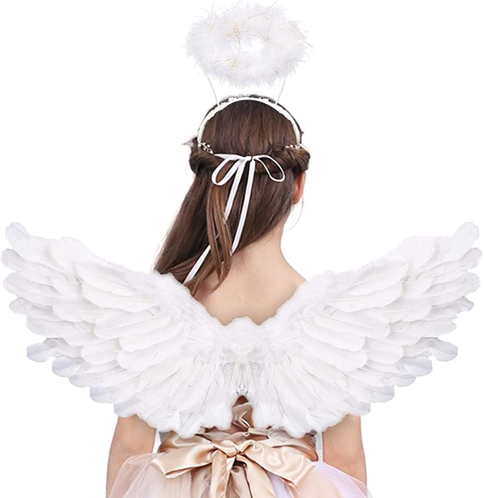 Angel Wings and Halo Adult White Angel Wings for Kids Halloween Xmas