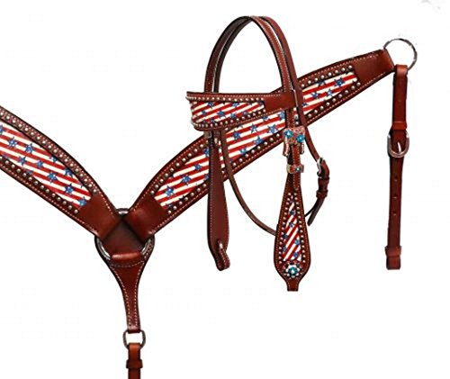 Showman Stars & Stripes Headstall and Breast Collar Set