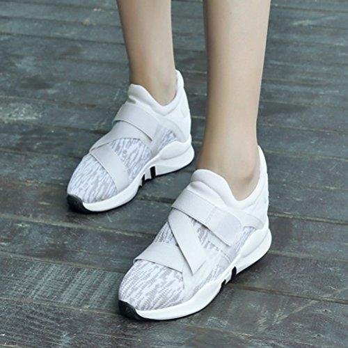 Running Toe Flats Platform Casual Atyche Sneaker Closed Velcro White Women's Sports Comfortable Shoes Xzanqw6