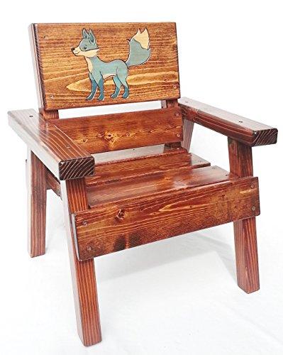 - Kids Wooden Chair, Indoor/Outdoor, Painted & Engraved Blue Fox Design, Heirloom Furniture