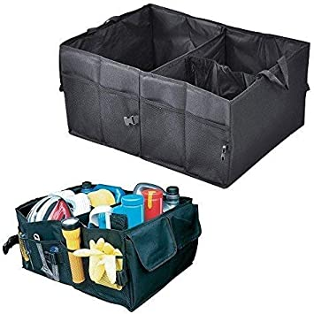 Wowlela Car Boot Organiser Adjustable Straps Oxford Fabric Waterproof Large Boot Tidy Trunk Organizers Storage Bag Durable Foldable Cargo Storage for Car Backseat
