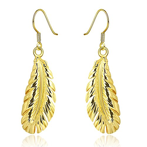 Feather Butterfly Turquoise Black And Mask (iCAREu Unique Gold Plated Feather Drop Earrings for Women)