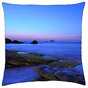 Blue and Lilac Sea Sunset - Throw Pillow Cover Case (18