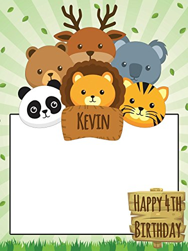 (Customize Safari Birthday photo booth Frame Prop - sizes 36x24, 48x36; Large Personalized jungle Selfie Frame, zoo birthday, animal Party Home Decorations, Handmade Party Supply Photo Booth Frame)