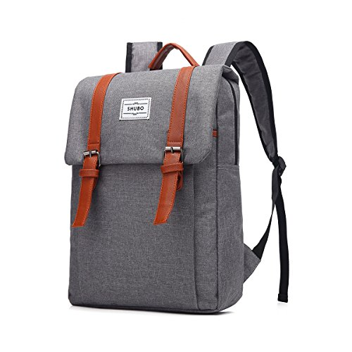 Mn&Sue Korean Design Casual Unisex Professional Waterproof Oxford Fabrics College School Bag Security Multi-Compartment Laptop Backpack Rucksack for Macbook, Surface Pro, Tablets (Gray) -