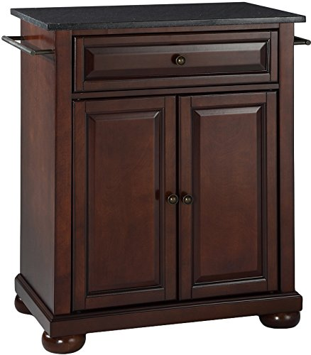 Crosley Furniture Alexandria Cuisine Kitchen Island with Solid Black Granite Top - Vintage Mahogany