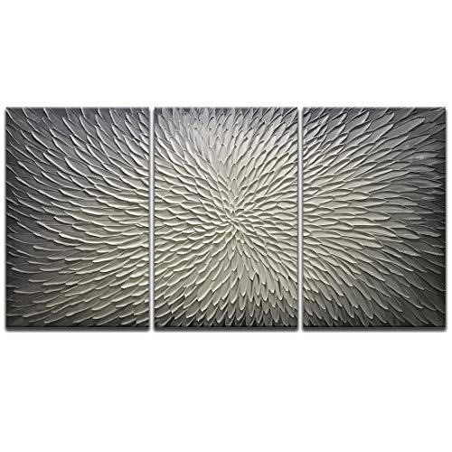 Amei Art Paintings,30x60Inch 3D Hand-Painted On Canvas Abstract Artwork Art Wood Inside Framed Hanging Wall Decoration Abstract Painting (Gray)