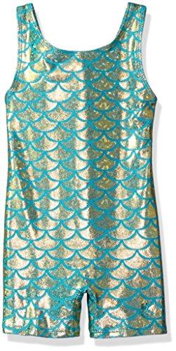 Danskin Big Girls' Gymnastics Unitard, Mermaid Teal, Intermediate (6X-7) - Danskin Green Shirt