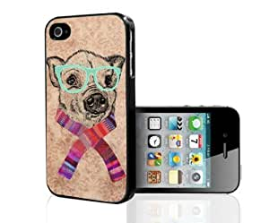 Cute Little Hipster Piggy in Teal Glasses and Colorful Spring Scarf Hard Snap on Phone Case (iPhone 5/5s)