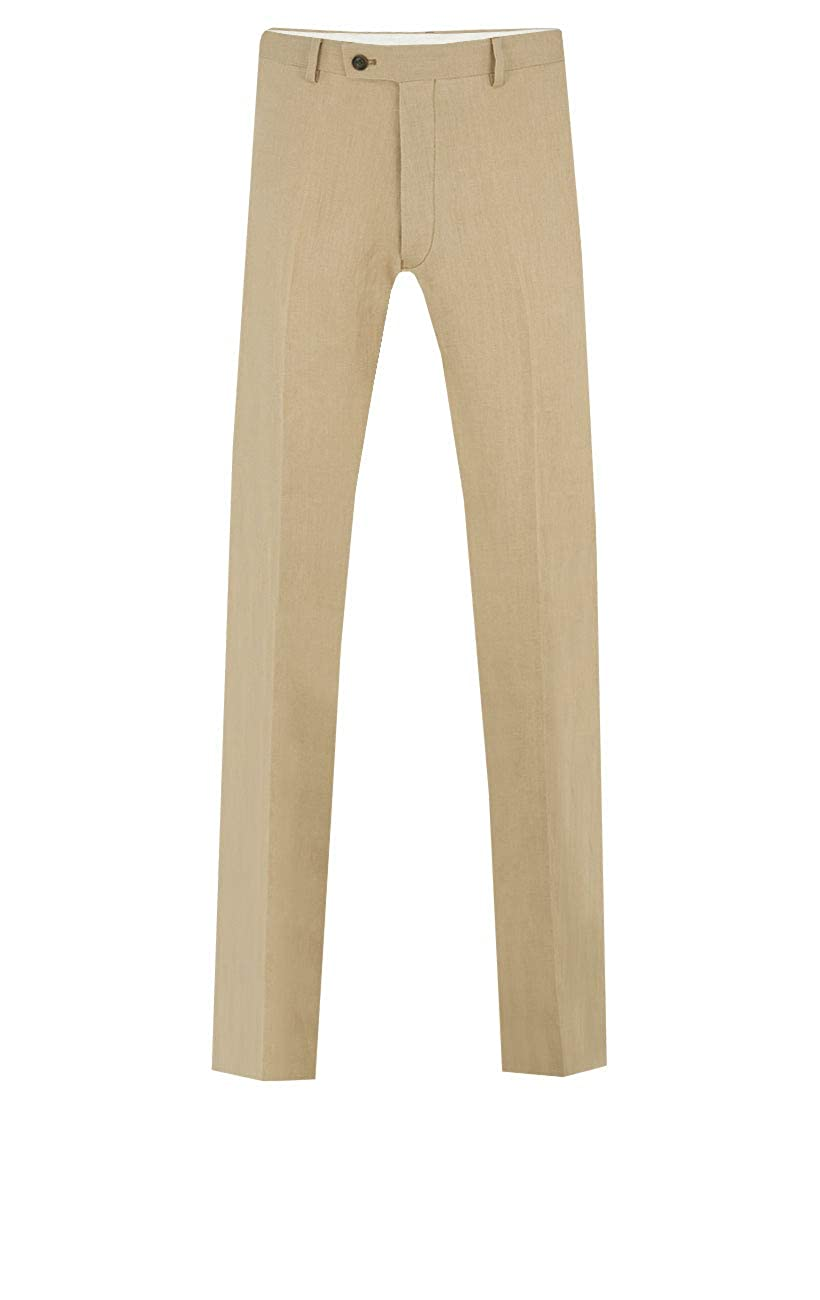 Dobell Mens Sand Suit Trousers Slim Fit Lightweight Linen