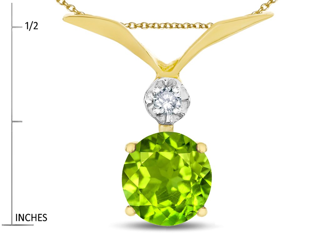 Star K Round 7mm Genuine Peridot Pendant Necklace 14 kt Yellow Gold by Star K (Image #2)